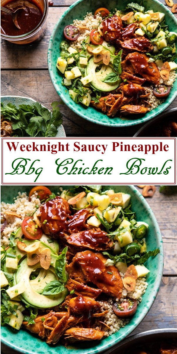 Weeknight Saucy Pineapple Bbq Chicken Bowls #dinnerrecipes