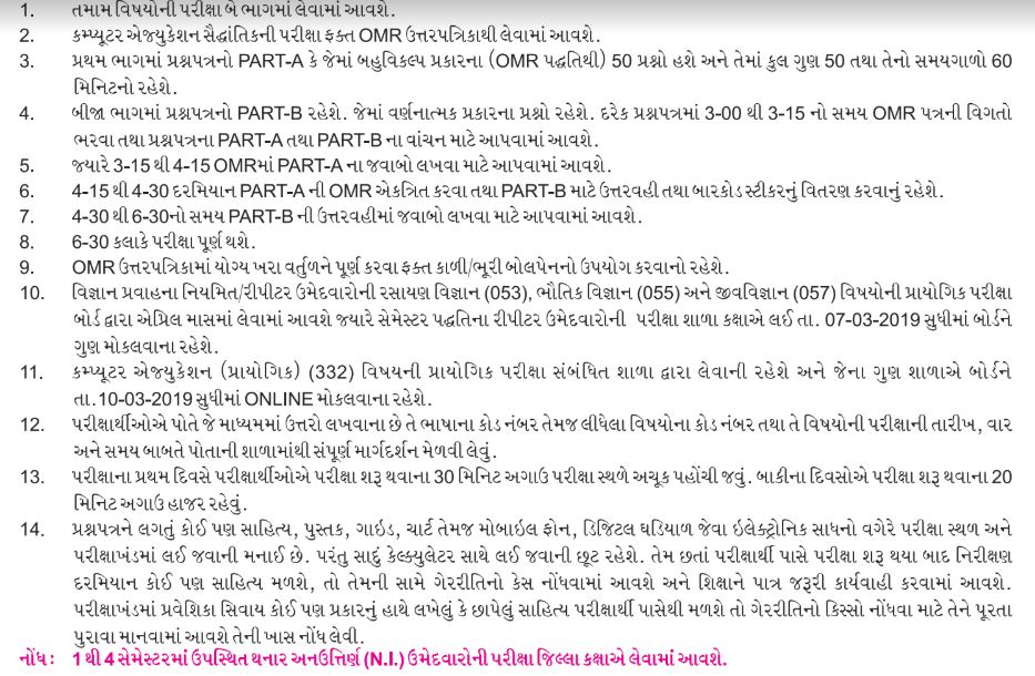 Gujarat Board SSC Time Table 2019