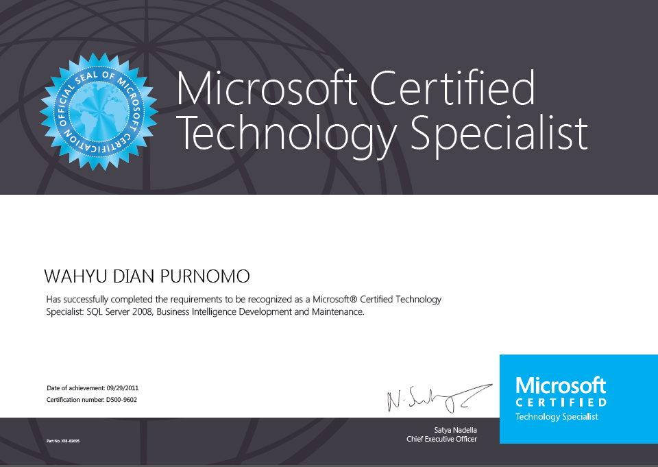 Microsoft Certified Technology Specialist (MCTS), Business Intelligence Development and Maintenance, 2011