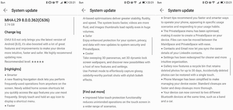 Update features