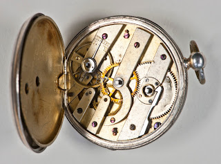 Internal mechanism of a pocket watch