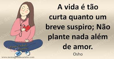 A vida é tão curta quanto um breve suspiro; Não plante nada além de amor. Osho