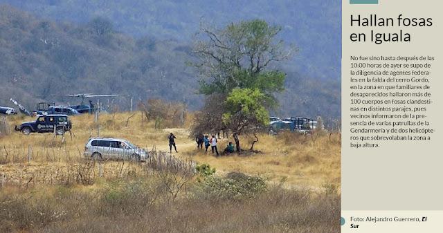 Federales con palas, picos y dos helicópteros hurgan en cerro de Iguala; habrían hallado restos