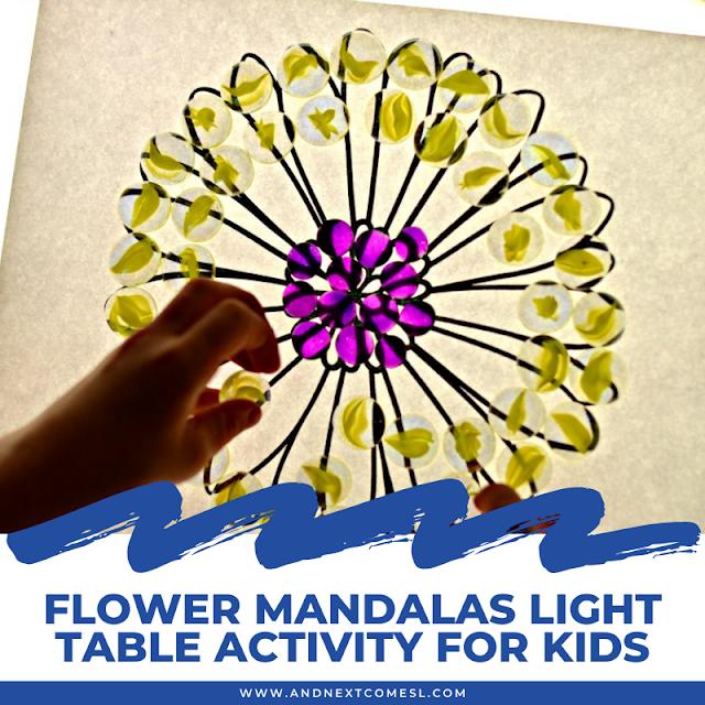 Flower mandalas light table activity for kids