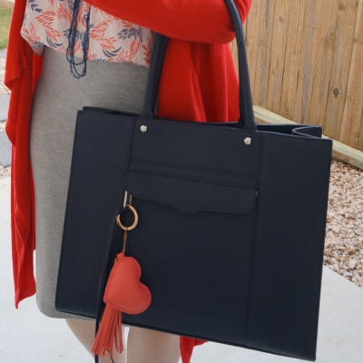 red cardigan and pencil skirt with Rebecca Minkoff medium MAB tote in moon navy | awayfromtheblue