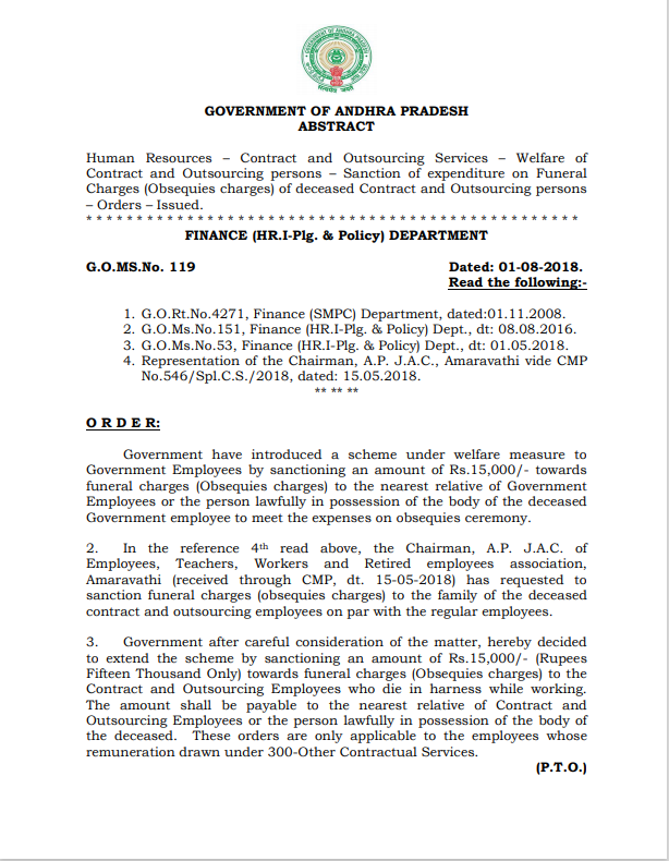 Rs.15.000/- Funeral Charges to Contract and Outsourcing Persons - G.O.MS.No.119, Dated.01-08-2018