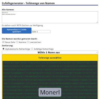 Auslosung: Gewonnen hat Monerl