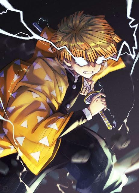 zenitsu agatsuma kimetsu no yaiba badass anime wallpaper