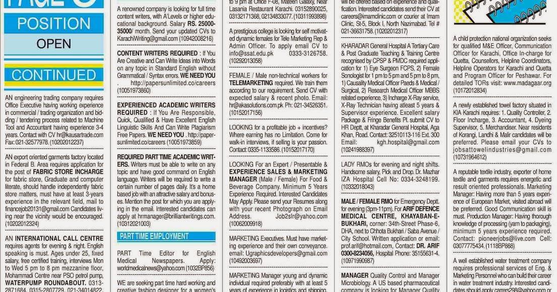 Online PapersPk: Dawn Newspaper Classified Jobs