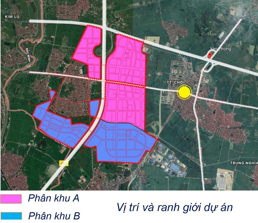Vị trí các phân khu trong khu đô thị Kim Đô