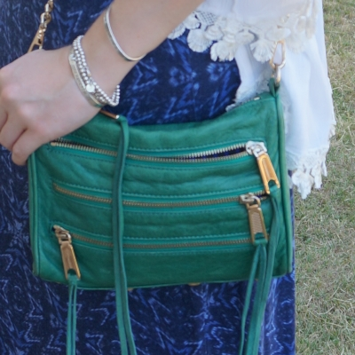 Rebecca Minkoff emerald green mini 5-zip rocker bag | away from the blue