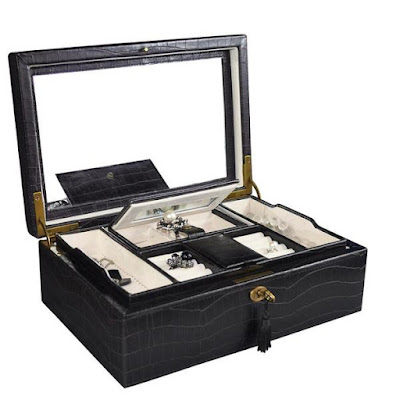Shop Nile Corp Luxury Crocodile Pattern Leatherette Jewelry Box with Lock