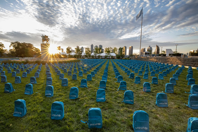 On 8 September 2019, a UNICEF installation highlighting the grave scale of child deaths in conflict during 2018 on the North Lawn at the United Nations Headquarters