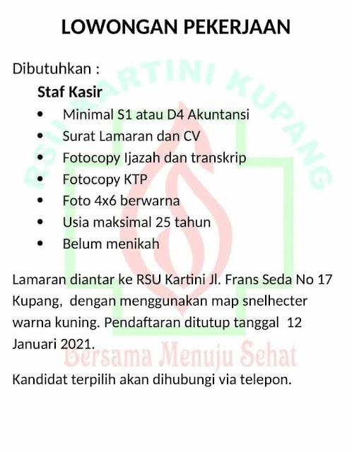 Loker Kupang Staf Kasir di Rumah Sakit Kartini Kupang
