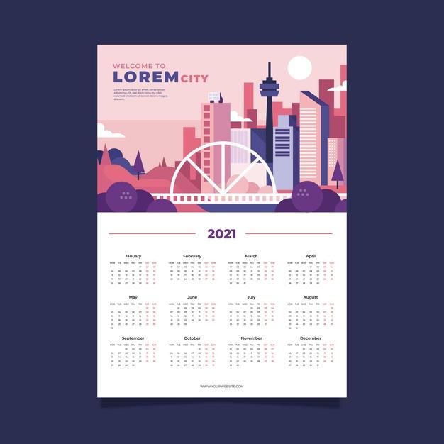 Plantilla de diseño negro de calendario 2021