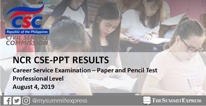NCR Passers: August 2019 Civil service exam result CSE-PPT (Professional Level)