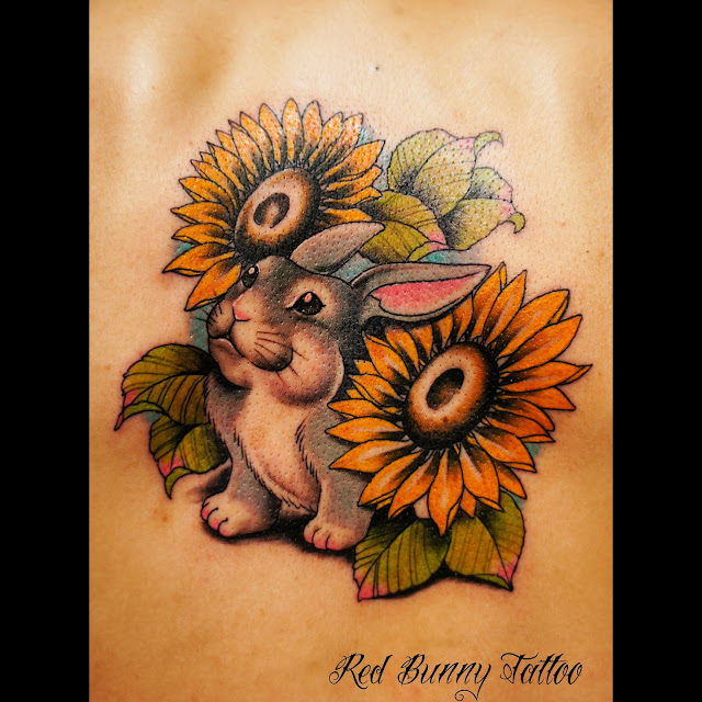 tattoo rabbit bunny sun flower うさぎ タトゥー