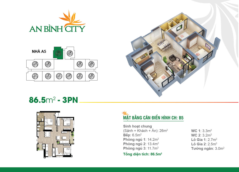 Thiết kế mặt bằng căn hộ 86,5 m2 - An Bình City