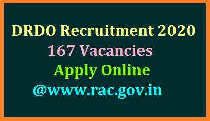 DRDO RAC inviting Online Application forms from eligible aspirants for the post of Scientist B with B.Tech qualifications for 167 vacancies with pay Scale 56100/-.  RAC invites online applications from graduate engineers and post graduates in Science including students who are appearing or have appeared in their final year examination through RAC website https://rac.gov.in for recruitment to the posts of Scientist `B' in Defence Research & Development Organization (DRDO), in Level-10 (7th CPC) of the Pay Matrix (Rs. 56,100/-) in specified disciplines and categories. Total emoluments (inclusive of HRA and all other allowances) at the time of joining will be approximately Rs. 80,000/- p.m. at the present metro city rate. Submit Online Application Form Online at DRDO RAC Official website Last date is 10th July 2020 drdo-recruitment-apply-online-rac.gov.in-vacancy-qualification-eligibility-details