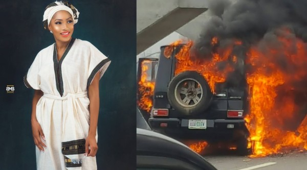 Former Beauty Queen Maryam Elisha Narrowly Escapes From Her Burning Car On Eko Bridge