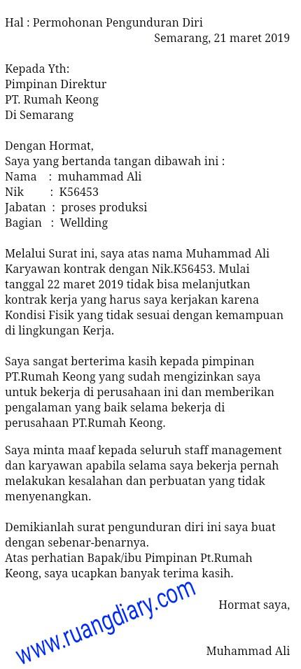 Contoh Surat Resign Untuk Karyawan Kontrak Contoh Surat