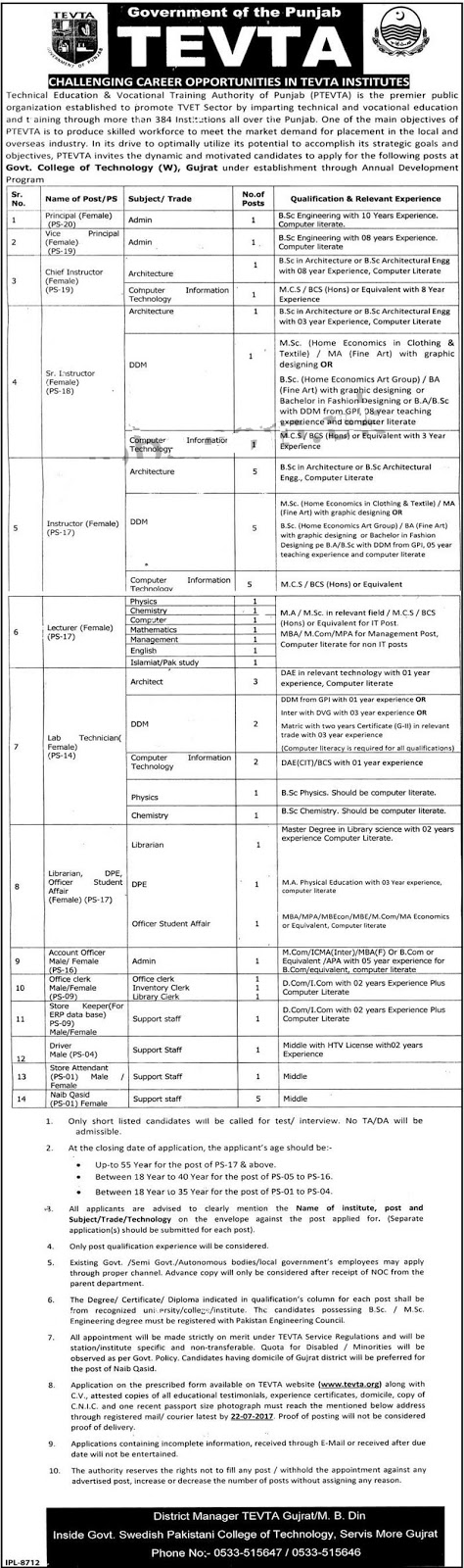 TEVTA Jobs in Technical Education & Vocational Training Authority Gujrat 6 july 2017