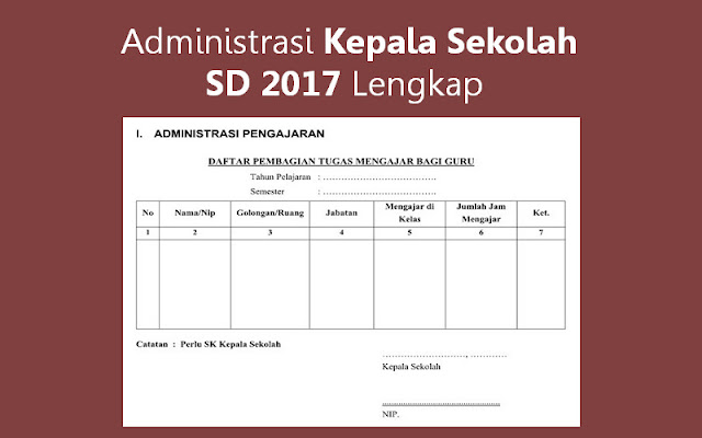 Administrasi Kepala Sekolah SD 2017
