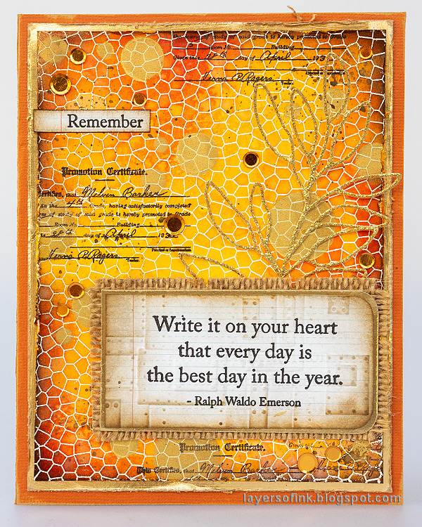Layers of ink - Shiny Autumn Card Tutorial by Anna-Karin Evaldsson. With Simon Says Stamp Document It and Stained Glass.