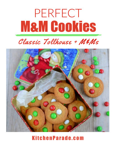 Perfect M&M Cookies ♥ KitchenParade.com, classic Tollhouse cookie recipe with M&Ms, perfected by my friend Kathy.