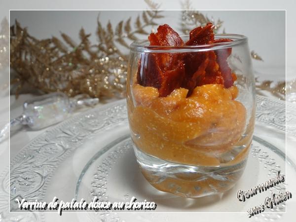 Verrines de patate douce au chorizo pour apéro de Noël