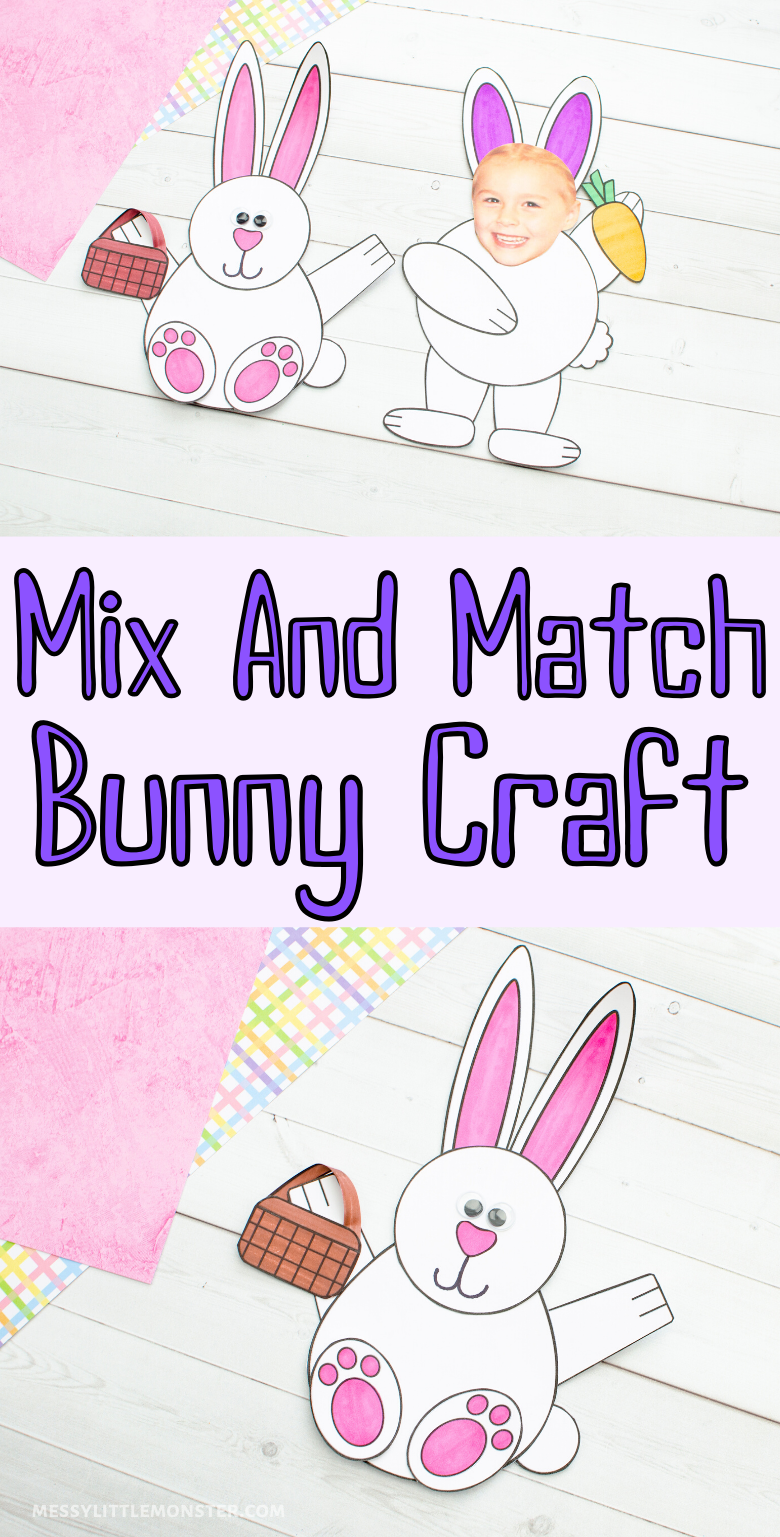 Mix and match paper bunny craft. A fun and easy Easter craft for kids.