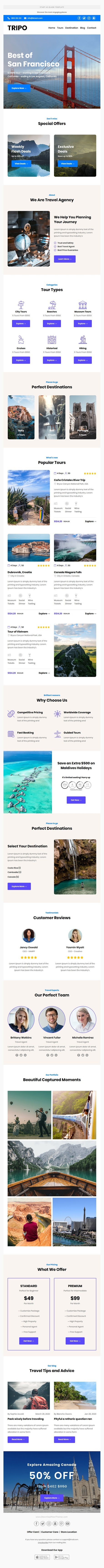 Responsive Email Template For Travel Agency With Free Email Editor