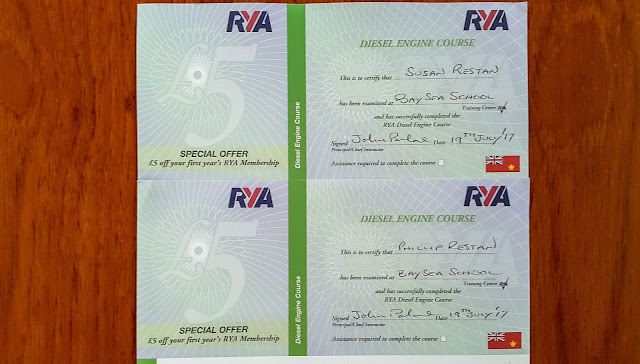 Photo of our RYA Diesel Engine Course certificates