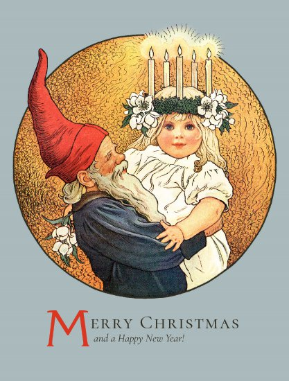 Christmas Tomte and sweet little Lucia girl CC1181 Postcard