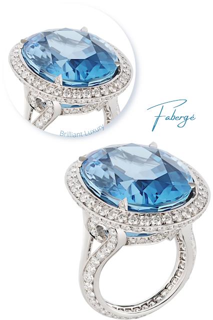 Fabergé light blue Colours of Love platinum 29.72ct oval aquamarine diamond ring #brilliantluxury