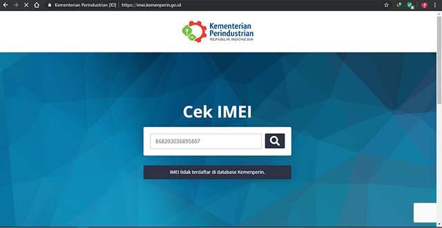 Cek melalui situs kemenperin - Cara Cek IMEI HP dengan mudah