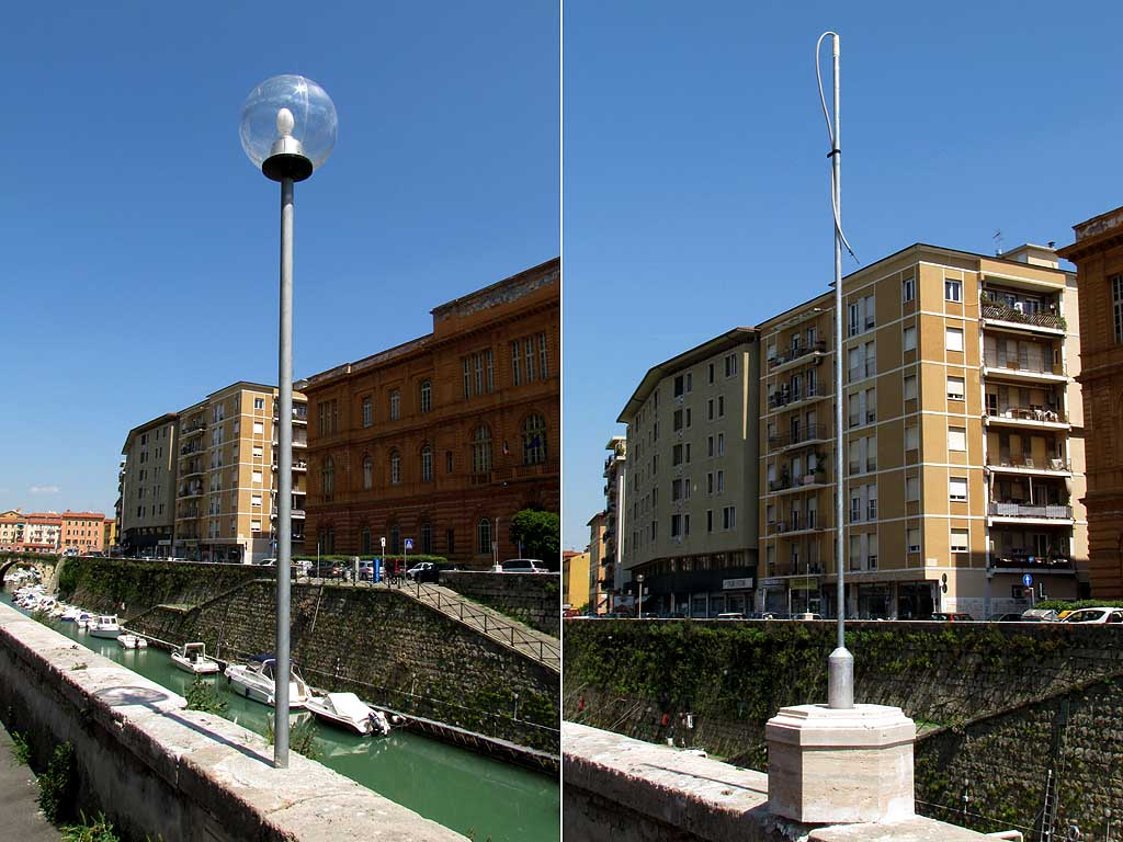 Temporary street lights, scali Saffi, Livorno
