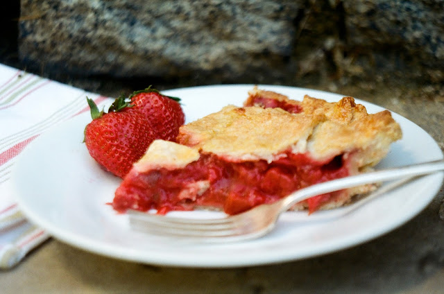 Strawberry Rhubarb Pie Slice (Side View)