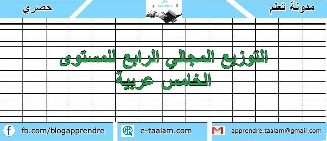 التوزيع المجالي الرابع للمستوى الخامس ابتدائي عربية 2020/2021