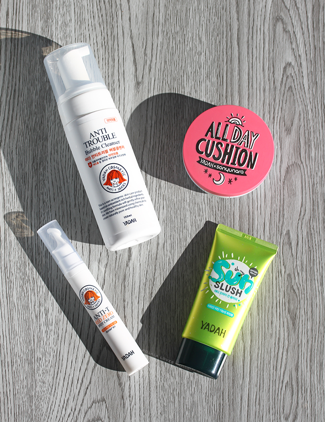 Yadah Review, Yadah Oh My Sun Slush, Yadah All Day Cushion, Yadah Anti Trouble, Yadah Anti Trouble Bubble Cleanser, Yadah Anti-T Red Zero Spot Cream