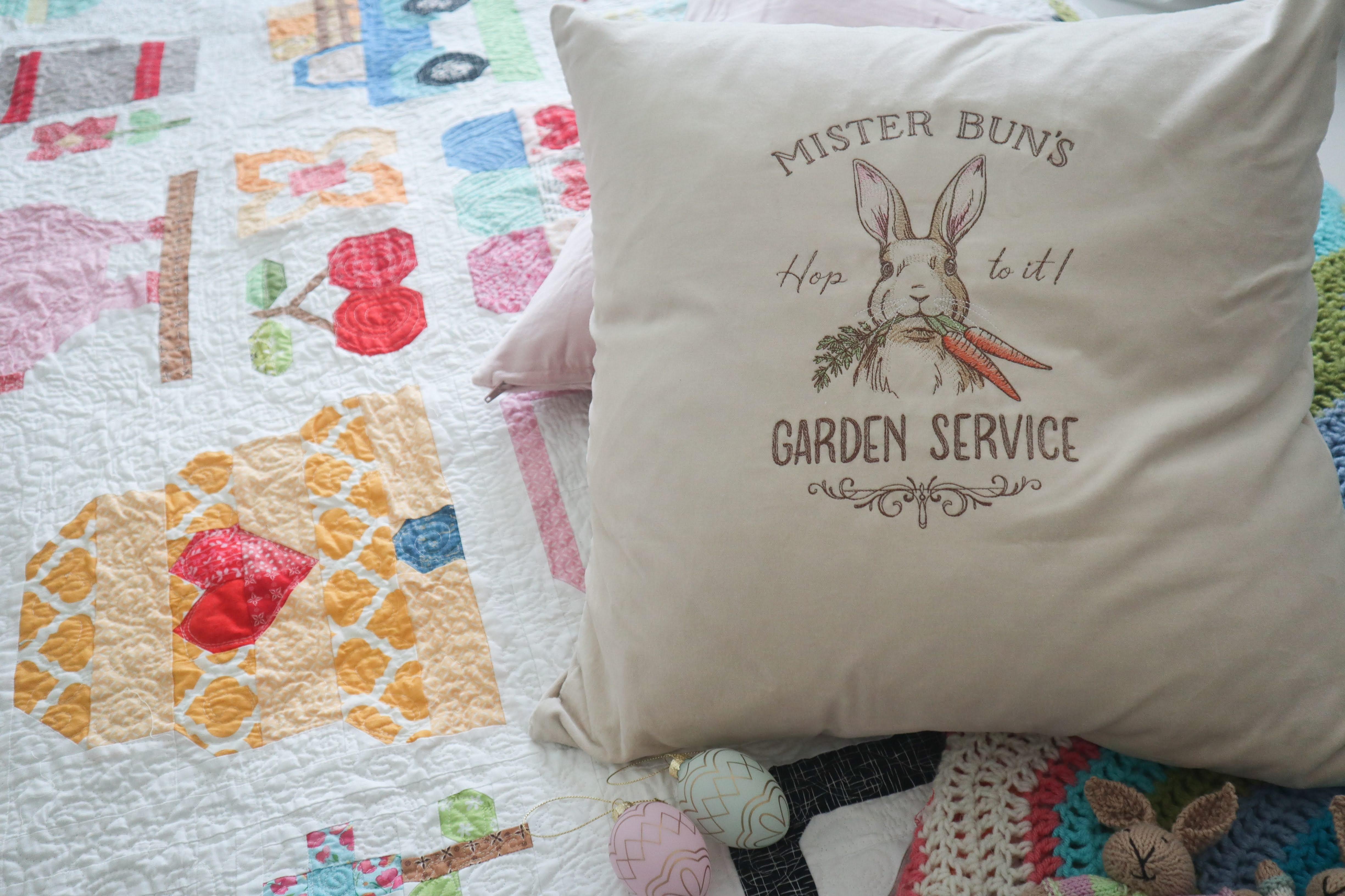 Hop to it! Embroidered Cushion