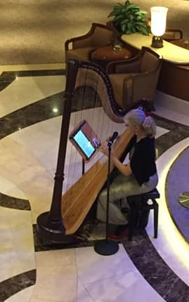 Harpist, Magdalena Reising, shown here playing in the QE's main foyer. Photo: Enigma