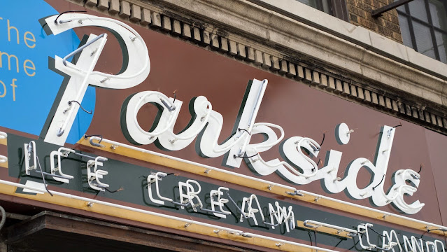 Architecture Buffalo: Parkside Candy sign in Buffalo, New York