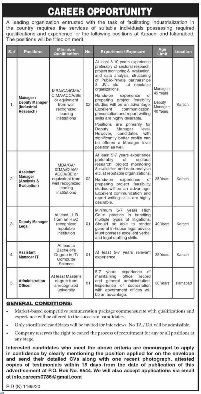 Public Sector Organization Jobs 2020 P O Box No 8544 Karachi For Assistant Managers