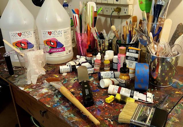 inside the resin artists studio at half baked art