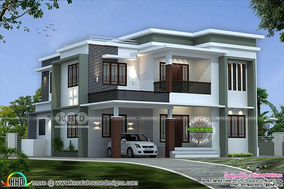 ₹50 Lakhs cost estimated modern flat roof home 2793 sq-ft