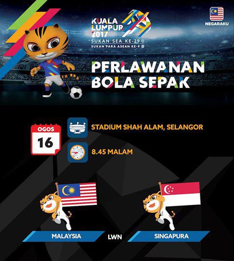 Live Streaming Sukan SEA 2017 Malaysia vs Singapura