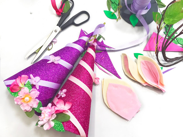 handmade party hats, unicorn hats, flower sparkling hats for girls, making process