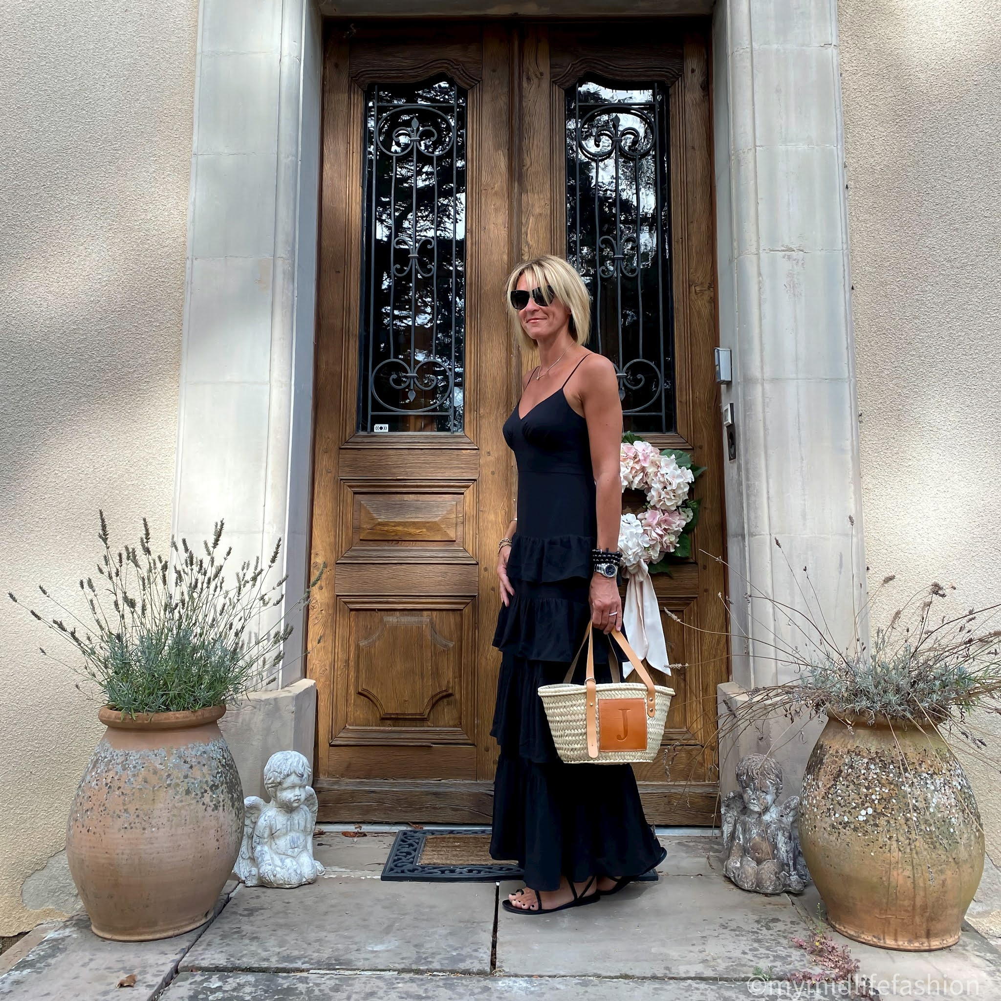 my midlife fashion, j crew ruffle tiered maxi dress, Ancient Greek plaited flat sandals, lada jewelry monogrammed basket