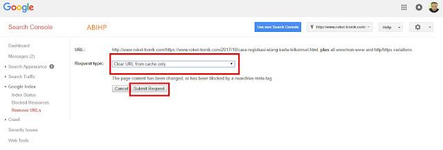 Selanjutnya submit request untuk memulai hapus cache.